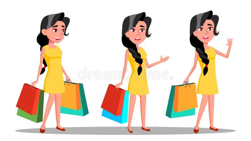 Karakter Jonge Vrouw Shopaholic met Zakvector vector illustratie