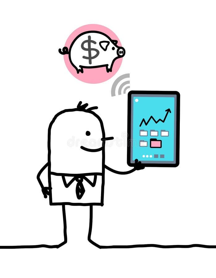 Karakter met tablet - bank royalty-vrije illustratie