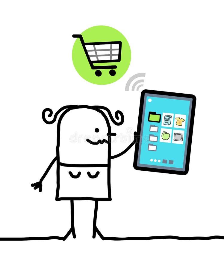 Karakter met tablet die - winkelt vector illustratie
