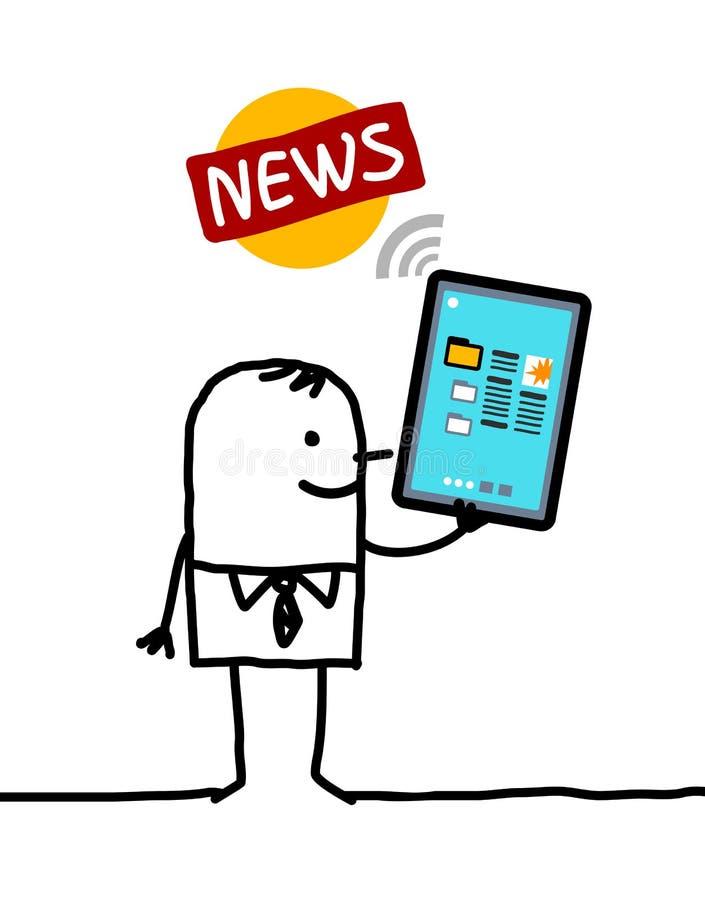 Karakter met tablet - nieuws vector illustratie