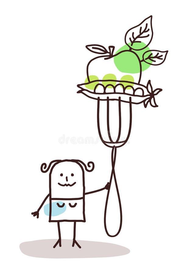 Karakter met vork - groenten stock illustratie