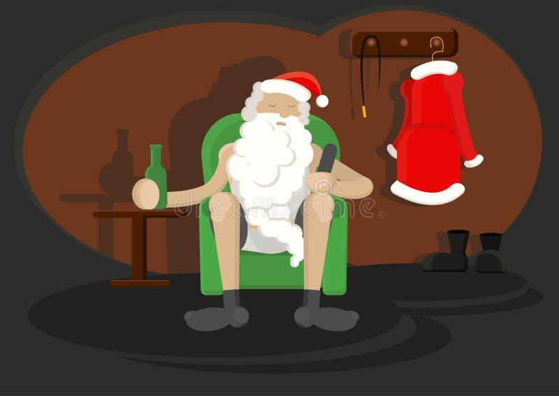 Karakter Santa Claus op stoel met fles van bier in één hand en TV ver in andere stock illustratie