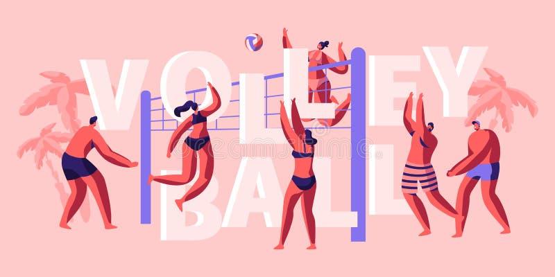 Karakter Team Play Volleyball op Strandbanner Grappig en Sunny Day voor het Spelen van Spel met Vriend Het vangen van en het Werp royalty-vrije illustratie