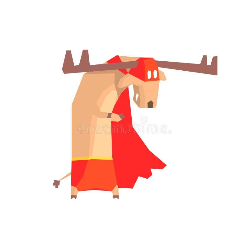 Karakter van de Amerikaanse elanden het Super Held vector illustratie
