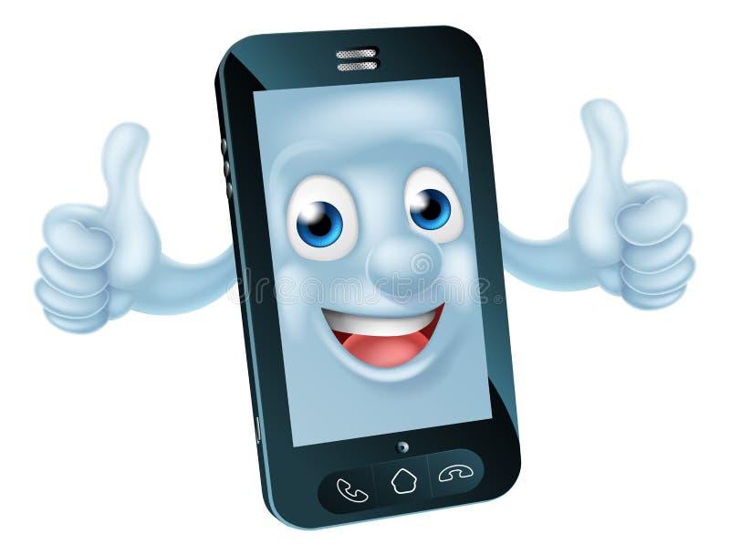 Karakter van de beeldverhaal het mobiele telefoon vector illustratie