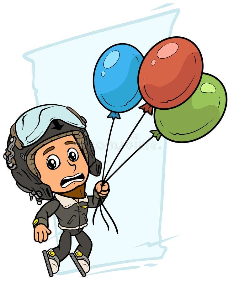 Karakter van de beeldverhaal het proefjongen met luchtballons vector illustratie