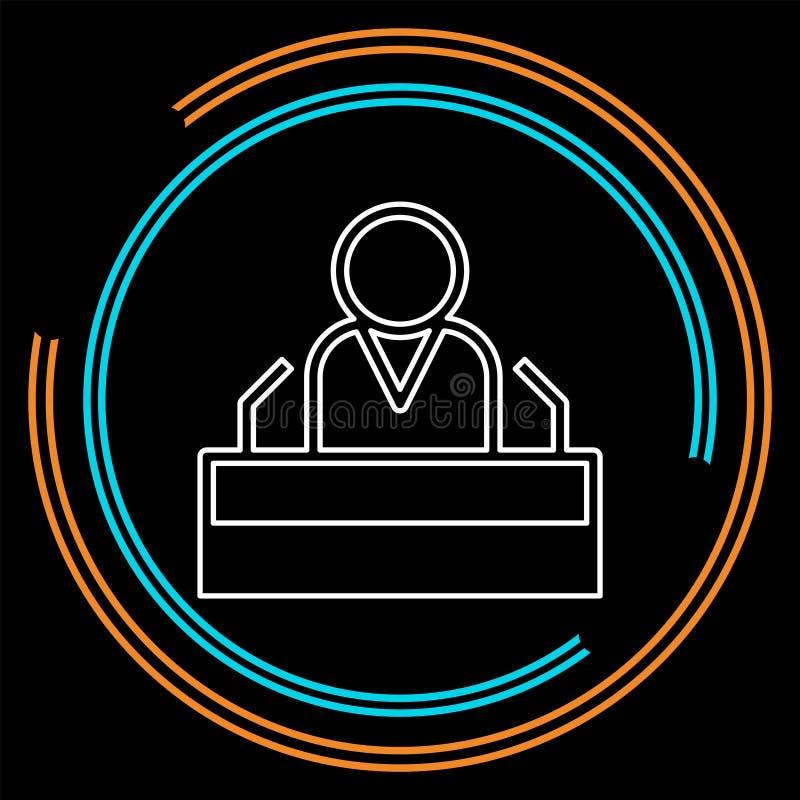 Karakter van de het pictogram het openbare spreker van de voorzitterstoespraak vector illustratie