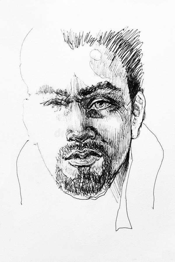 Karakter van de het portretschets van de inkttekening het mannelijke vector illustratie