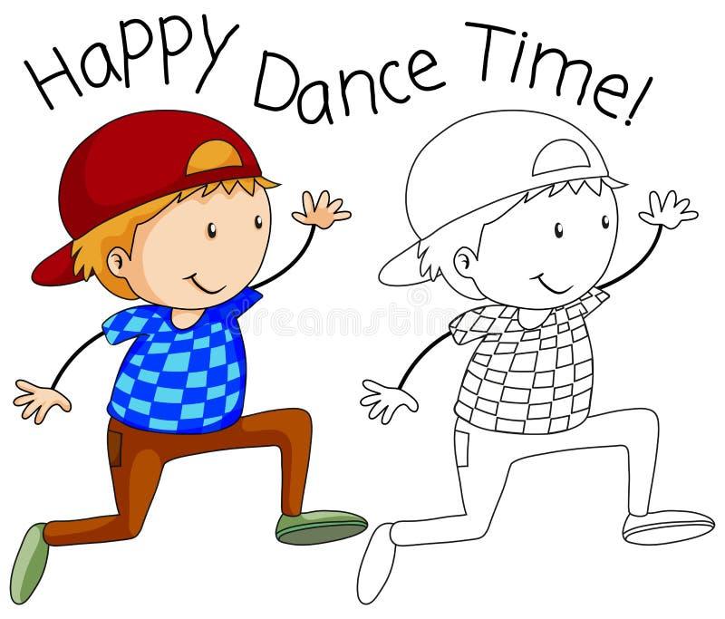 Karakter van de krabbel het gelukkige danser royalty-vrije illustratie