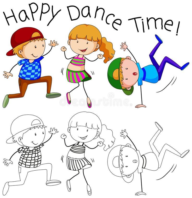 Karakter van de krabbel het gelukkige danser stock illustratie