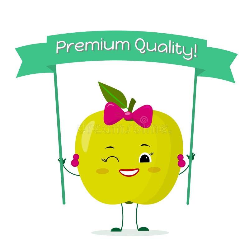 Karakter van het het beeldverhaalfruit van de Kawaii het leuke groene appel met een roze boog en oorringen Glimlacht en houdt een stock illustratie