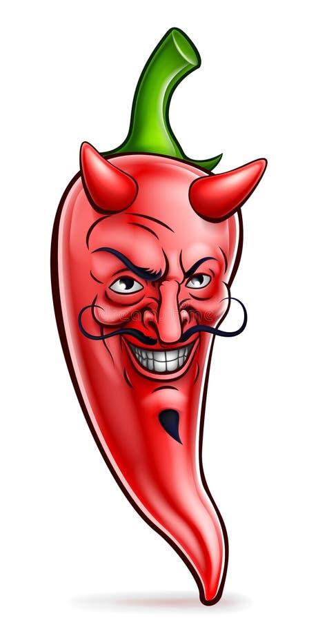 Karakter van het de Peperbeeldverhaal van duivels het Roodgloeiende Spaanse pepers vector illustratie