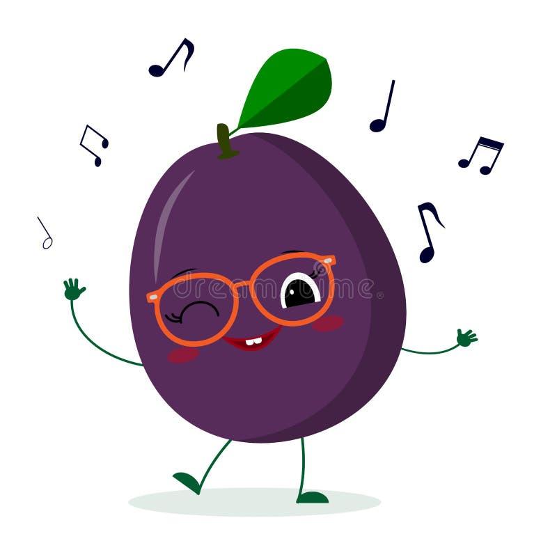 Karakter van het het fruitbeeldverhaal van de Kawaii het leuke pruim purpere in glazendansen aan muziek Embleem, malplaatje, ontw vector illustratie