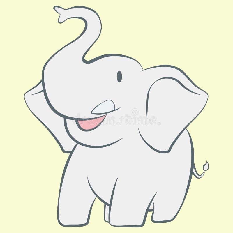 Karakter van het olifants het glimlachende beeldverhaal royalty-vrije illustratie