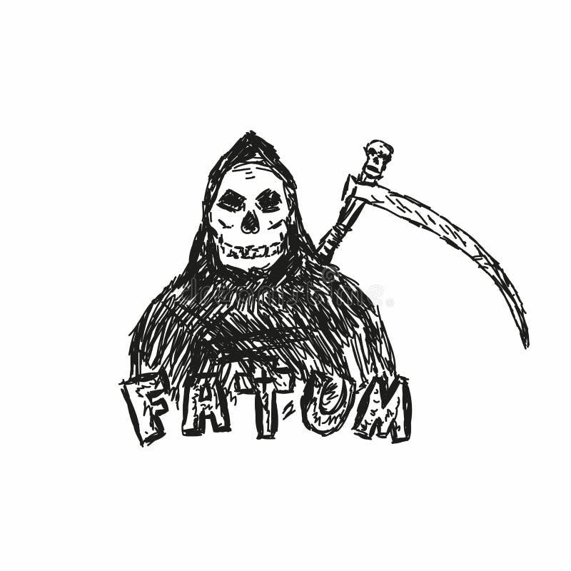 Karakterdood met zeis en met de hand geschreven teksten Fatum Schets, grunge, gekrabbel Vector illustratie royalty-vrije illustratie