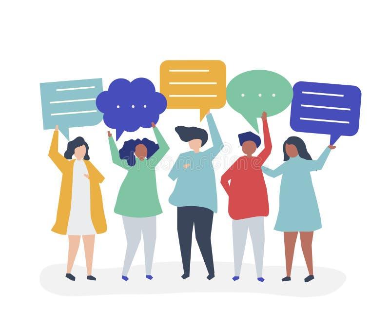 Karakterillustratie van mensen die toespraakbellen houden vector illustratie