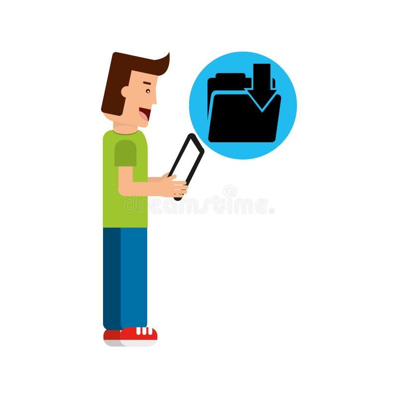 Karakterjongen met de omslag van de tablete-mail download vector illustratie