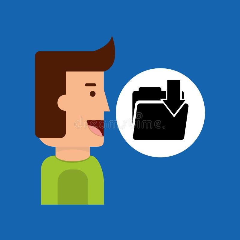 Karakterjongen met de omslag van de tablete-mail download royalty-vrije illustratie