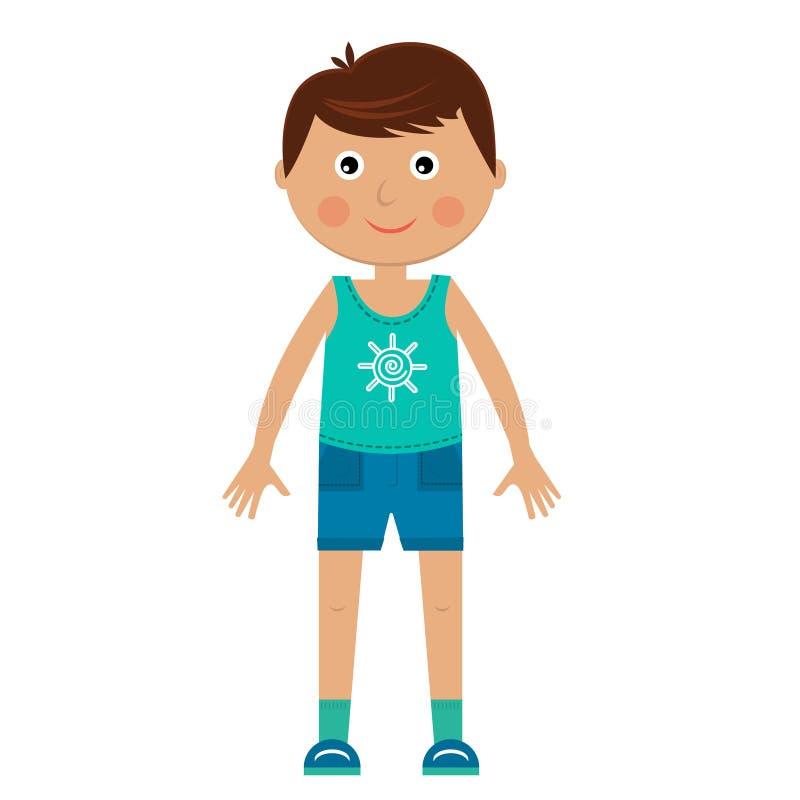 Karakterjongen in sportkleding stock illustratie