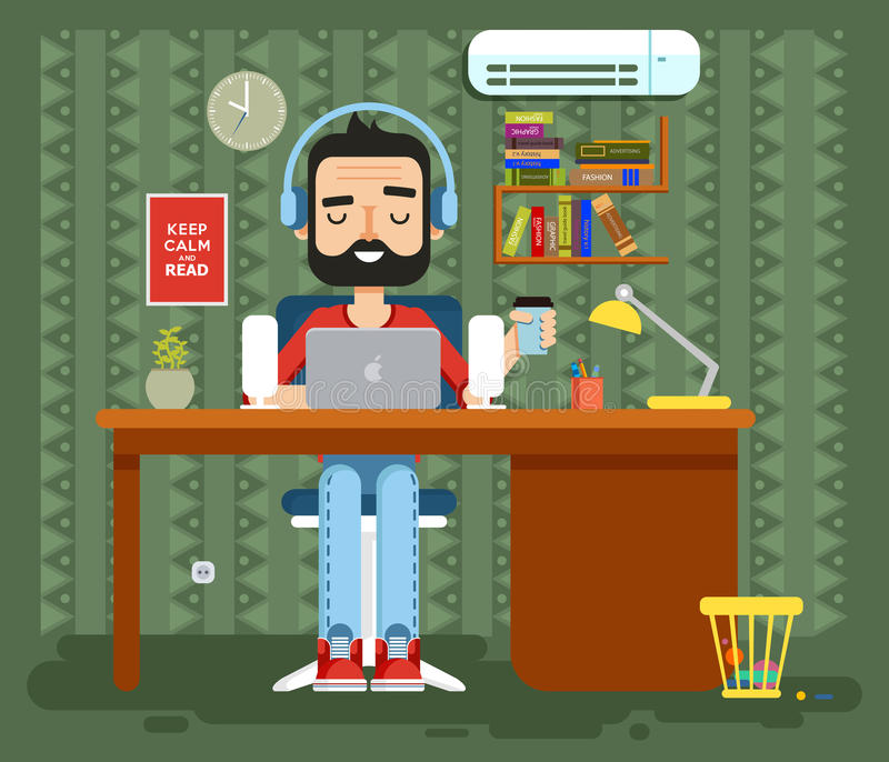 Karakterprogrammeur, tekstschrijver, gamer, freelancer, ontwerper, mens in hoofdtelefoons met baard thuis, computer vlakke stijl royalty-vrije illustratie