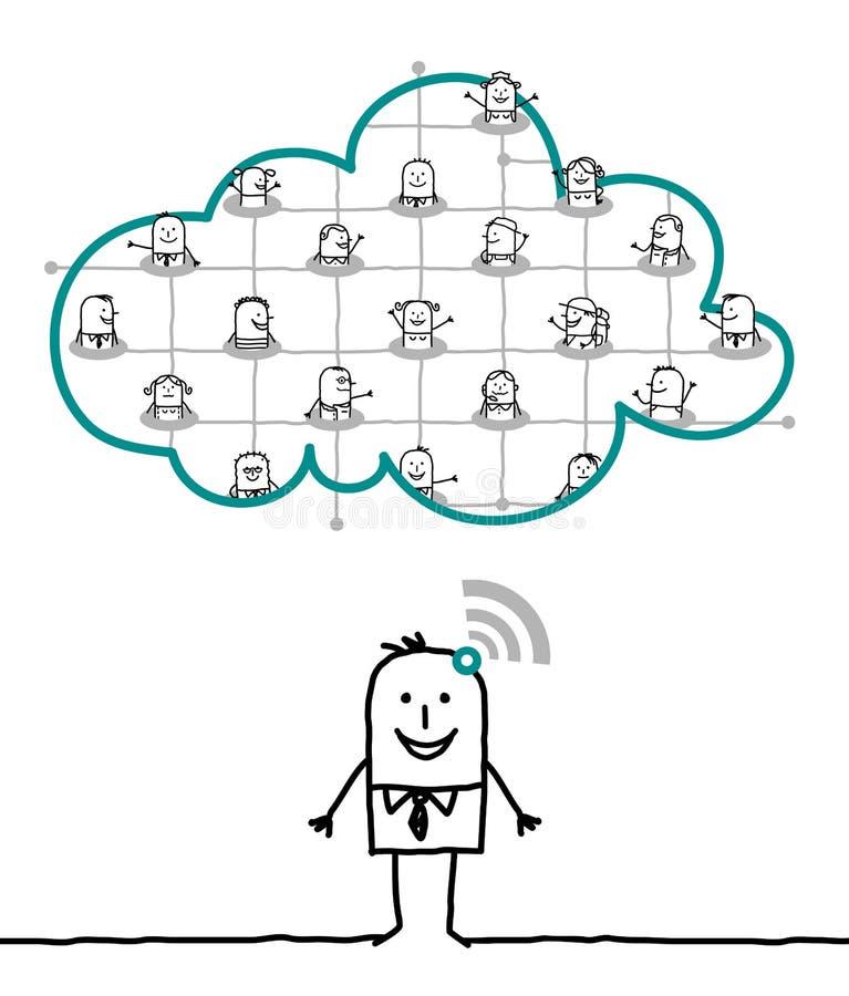 Karakters en wolk - netwerk stock illustratie
