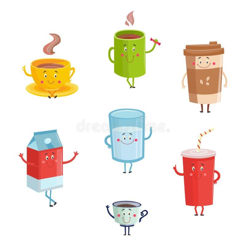 Karakters van de beeldverhaal de leuke die drank op witte achtergrond worden geïsoleerd Leuke gelukkige mokken en containers koff royalty-vrije illustratie