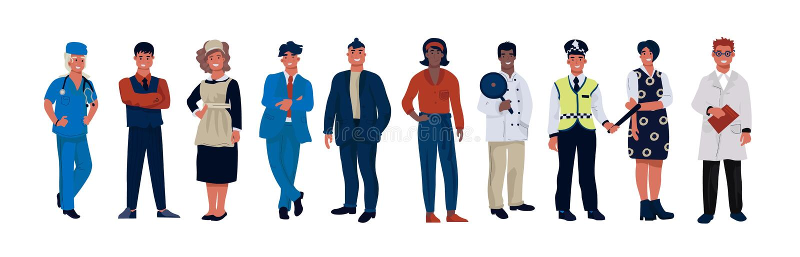 Karakters van diverse beroepen Beeldverhaalpersonen die van verschillende beroepen professionele eenvormig dragen Vectorarbeiders vector illustratie