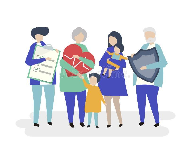 Karakters van een uitgebreide familie met gezondheidszorgillustratie royalty-vrije illustratie