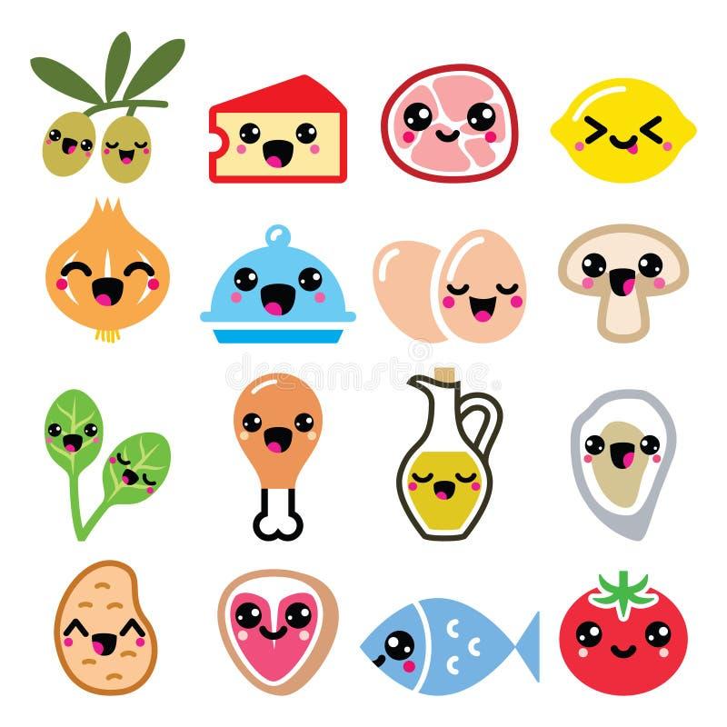 Karakters van het Kawaii de leuke voedsel - vlees, groenten, geplaatste agendapictogrammen royalty-vrije illustratie