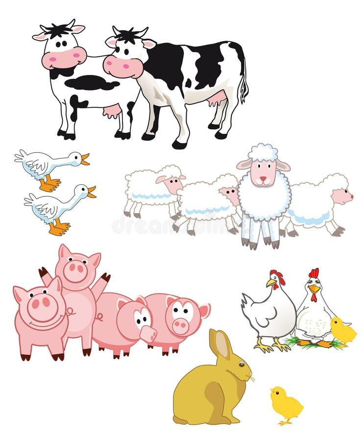 Karakters van het landbouwbedrijf de Dierlijke Beeldverhaal royalty-vrije illustratie