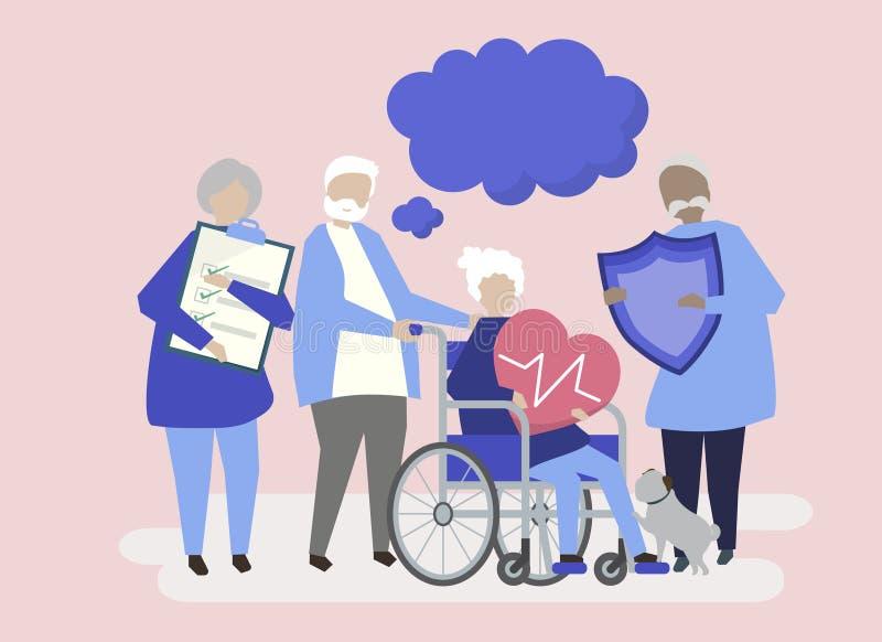 Karakters van hogere mensen die de illustratie van gezondheidszorgpictogrammen houden stock illustratie