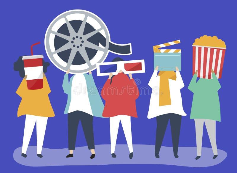 Karakters van mensen die de illustratie van filmpictogrammen houden royalty-vrije illustratie