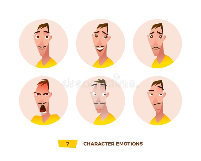 Karaktersavatars emotie in de cirkel vector illustratie