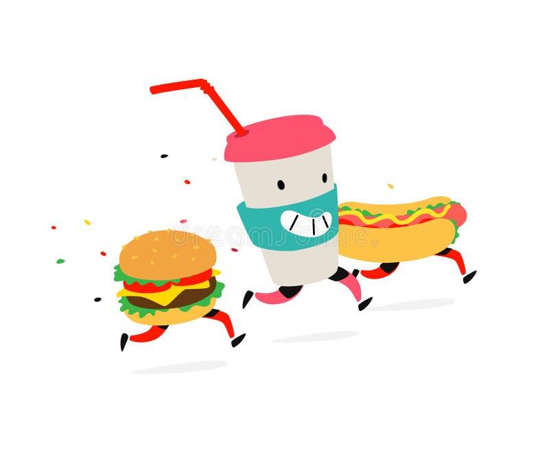 Karaktershamburger, hotdog, cocktailkop Vector Emblemen voor snel voedsel Grappige illustratie van voedsellevering Beeldverhaalte royalty-vrije illustratie