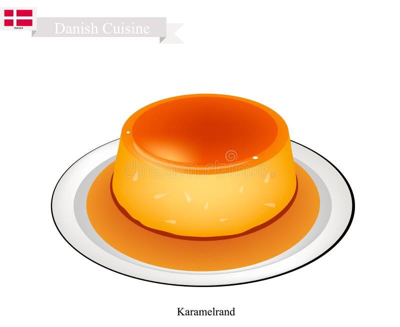 Karamelrand ou caramel de crème, dessert populaire au Danemark illustration libre de droits