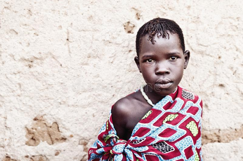 Karamojong孩子在乌干达 库存照片