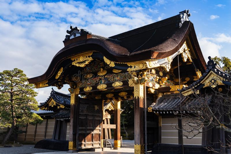 The Karamon gate at the entrance of Ninomaru Palace in Nijojo Castle Kyoto, Japan royalty free stock image
