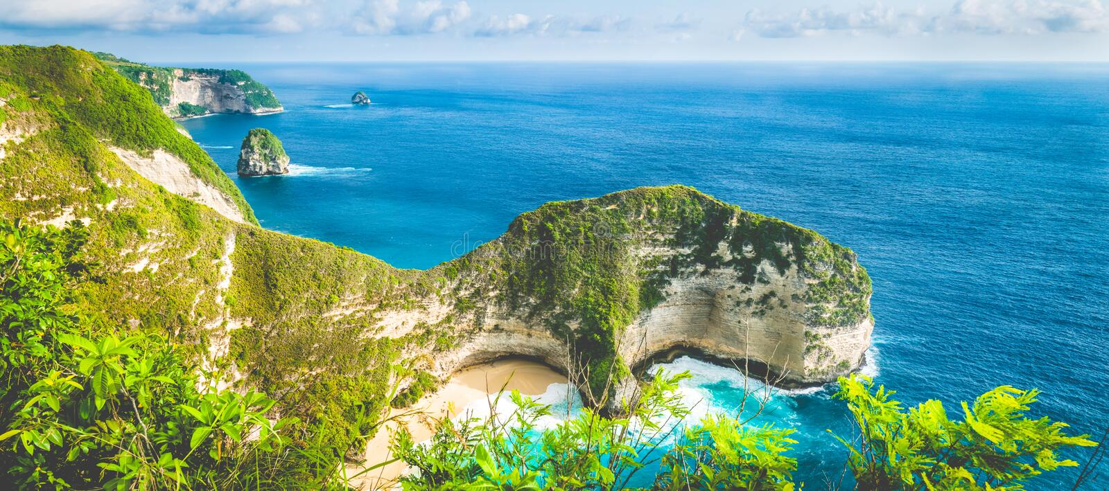 Karang Dawa, Manta Bay or Kelingking Beach on Nusa Penida Island, Bali, Indonesia.  royalty free stock image