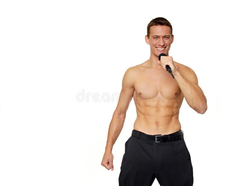 Download Karaoke with athletic man stock photo. Image of lifestyle - 35365528