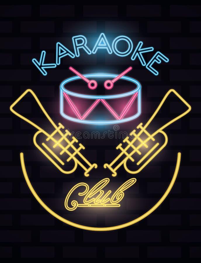 Karaoke club label neon lights vector illustration