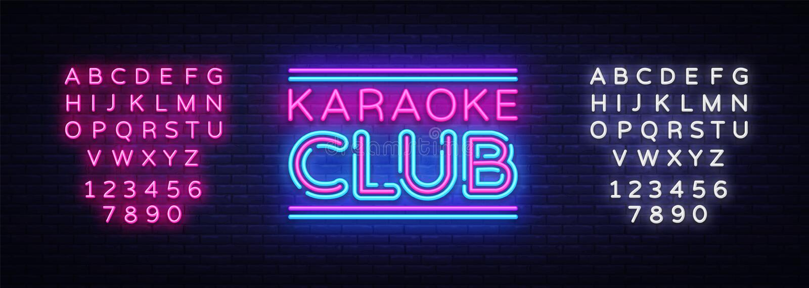 Karaoke Club neon sign vector. Karaoke design template neon sign, light banner, neon signboard, nightly bright. Advertising, light inscription. Vector royalty free illustration