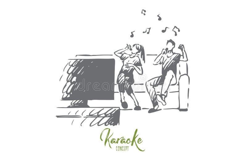 Karaoke familj, hem, gyckel som sjunger begrepp Hand dragen isolerad vektor stock illustrationer