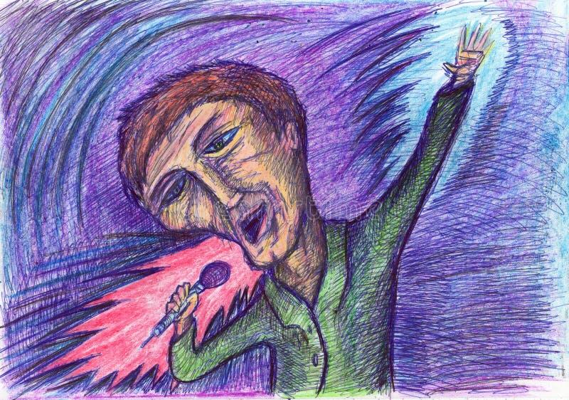 Karaoke fan. Original drawing by romanskv. royalty free stock photo