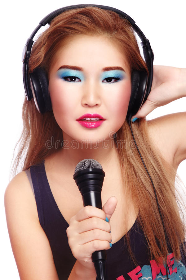 Karaoke Girl Stock Images
