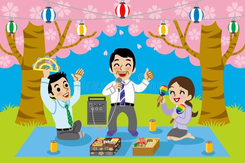 Karaoke in kersenbloesem het bekijken vector illustratie