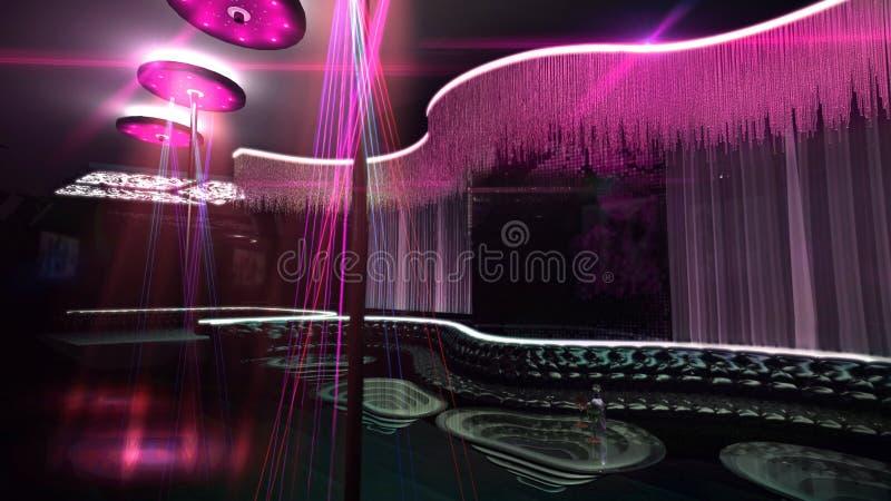Karaoke klubu nocnego światła reflektorów koloru mieszanka royalty ilustracja