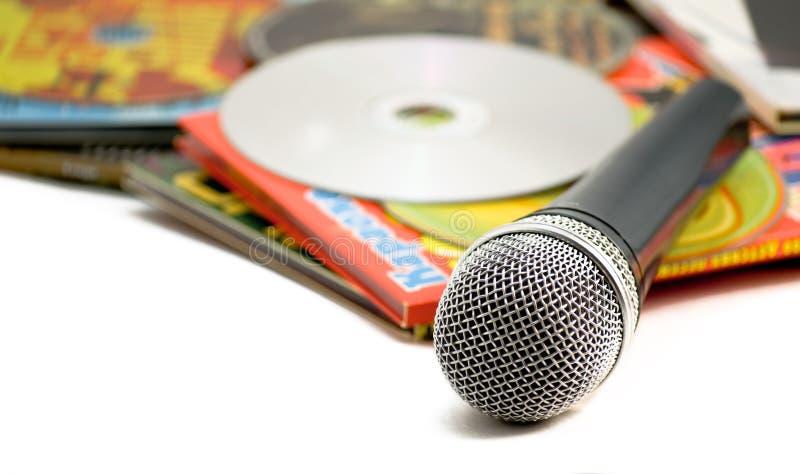 Karaoke.The Mike e dischi. fotografia stock libera da diritti
