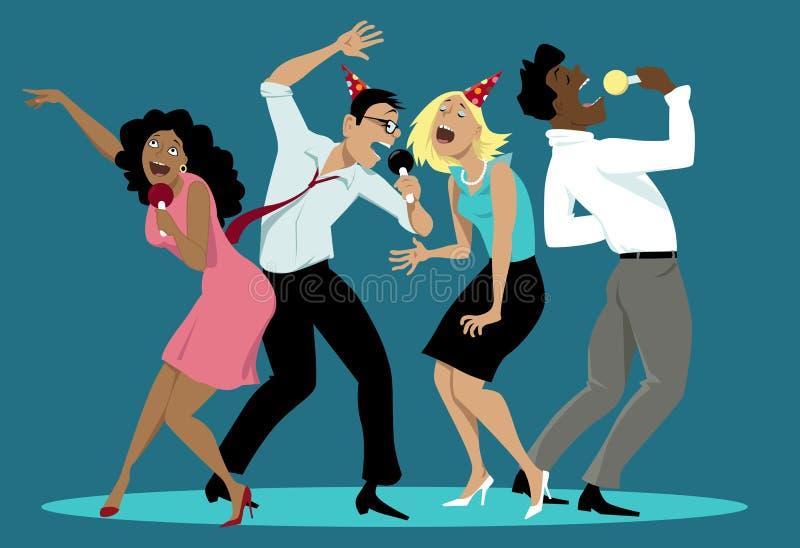 Karaoke night stock vector. Illustration of friends ...