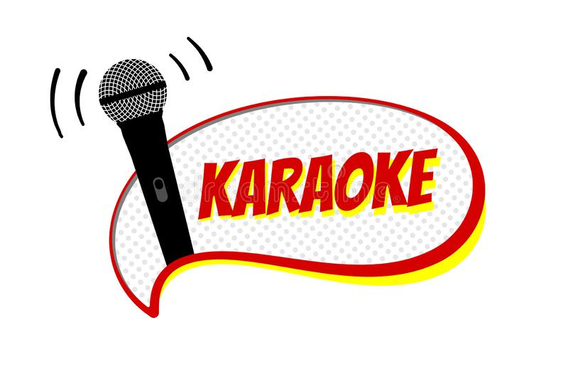 Karaoke night party script op strip speech bellem Cursieve microfoonvectorillustratie stadium stock afbeelding