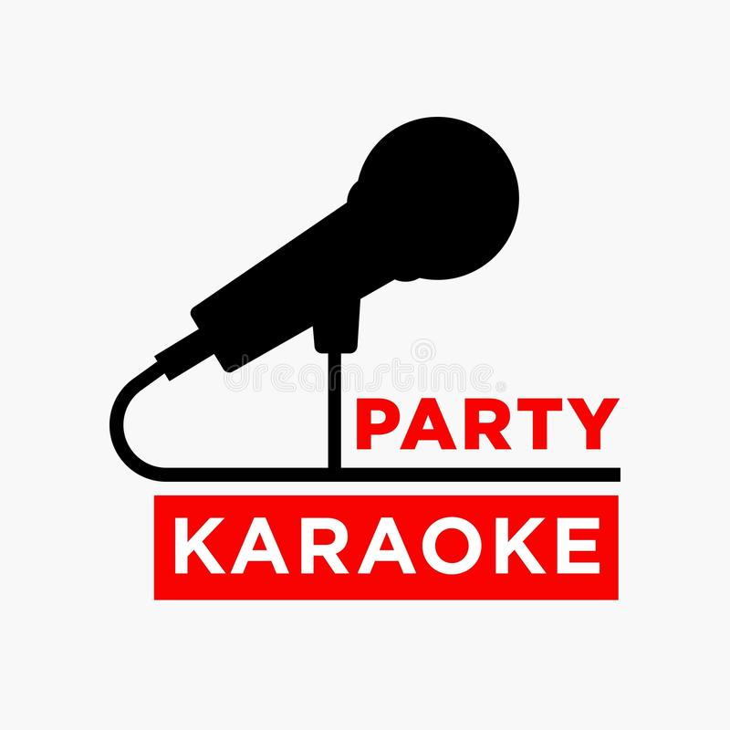 Karaoke party club label of vector microphone ofr sing bar. Karaoke party or club and sing bar logo template of microphone silhouette. Vector label for singing vector illustration